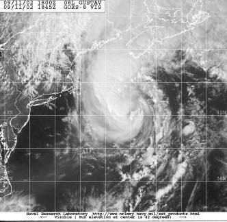 Figure 2 -  GOES-8 Image of Hurricane Gustav