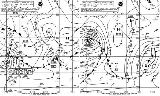 Figure 1 - North Pacific Surface Analysis  Chart