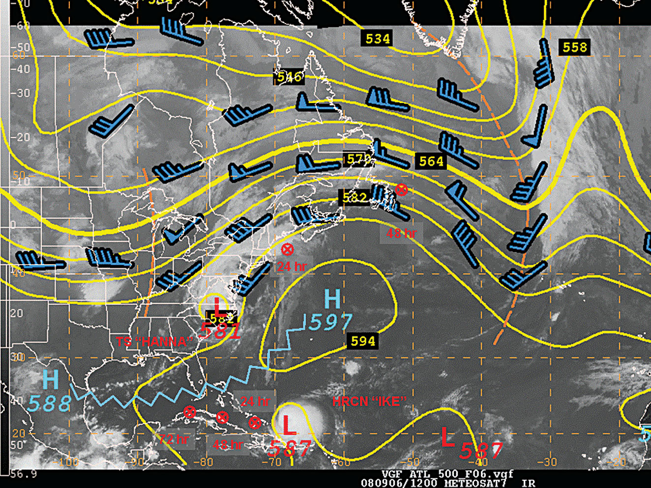 500 Mb Height Winds And Satellite Image