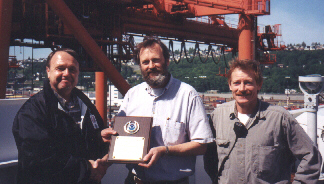 PMO Pat Brandow, Captain Harrison, and 2/M, Mark Schiedemayer